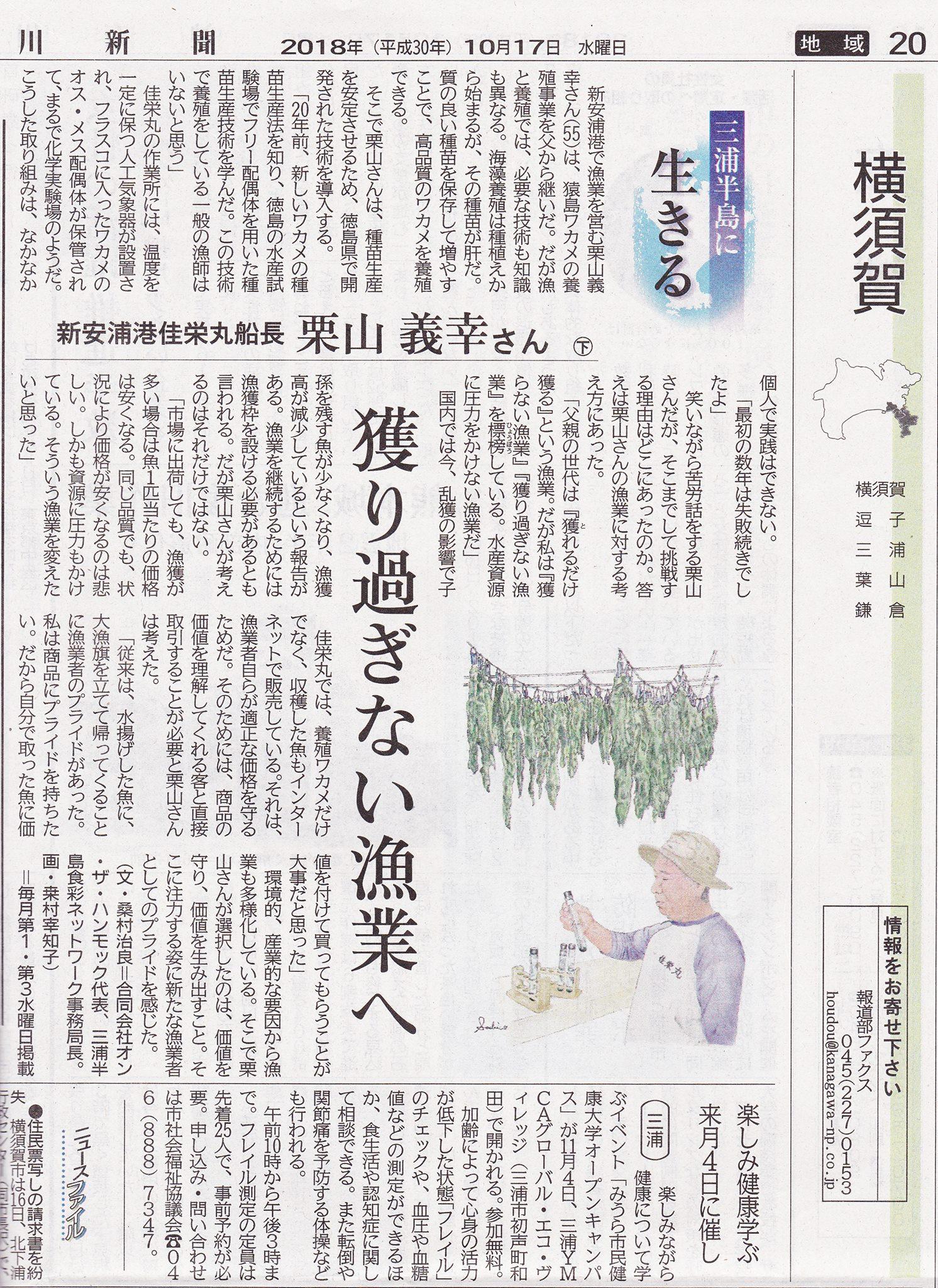 神奈川新聞連載「三浦半島に生きる」スタート